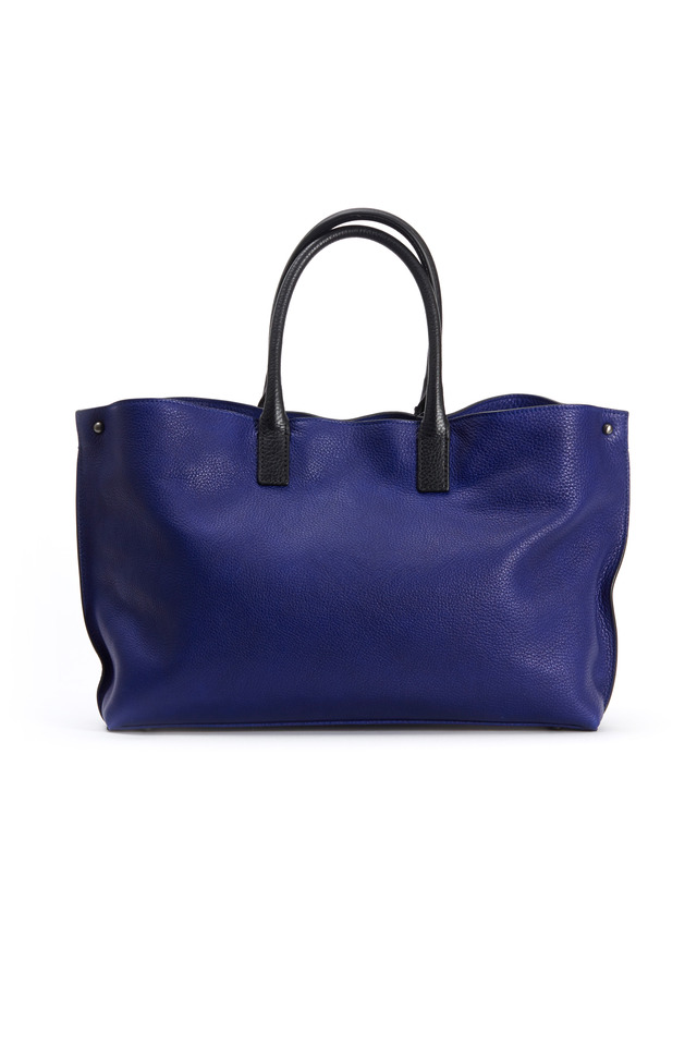 Ai Cervo Blue & Black Leather Small Tote