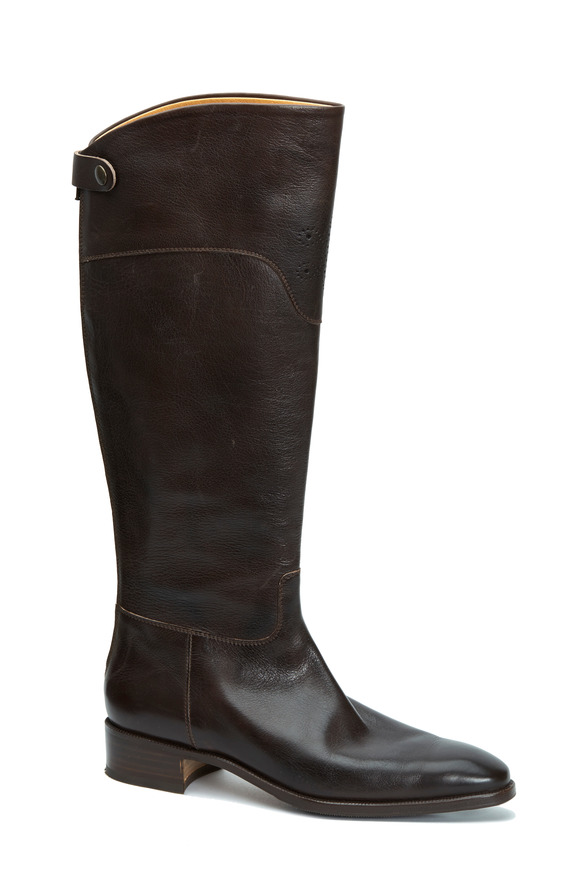 Gravati Brown Leather Medallion Tall Boot