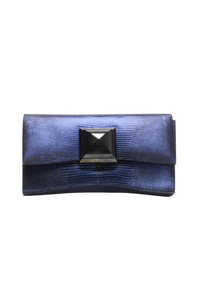 Kara Ross - Celina Blue Lizard Square Clutch