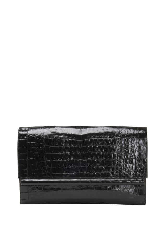 Black Crocodile Large Bar Clutch