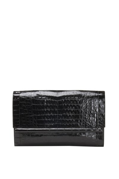 Nancy Gonzalez - Black Crocodile Large Bar Clutch