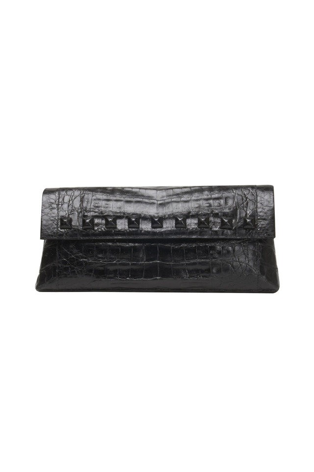 Studded Black Crocodile Flap Clutch