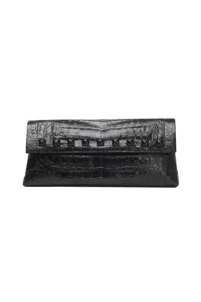 Nancy Gonzalez - Studded Black Crocodile Flap Clutch