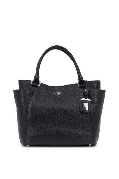 Prada - Black Vitello Leather Side Pocket Hobo Bag