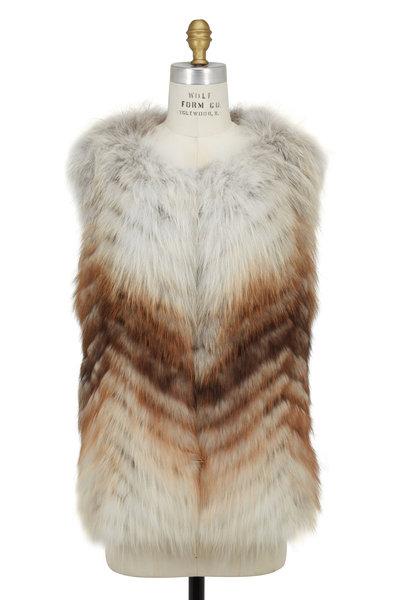Oscar de la Renta Furs - Toffee Chevron Fox Fur Vest
