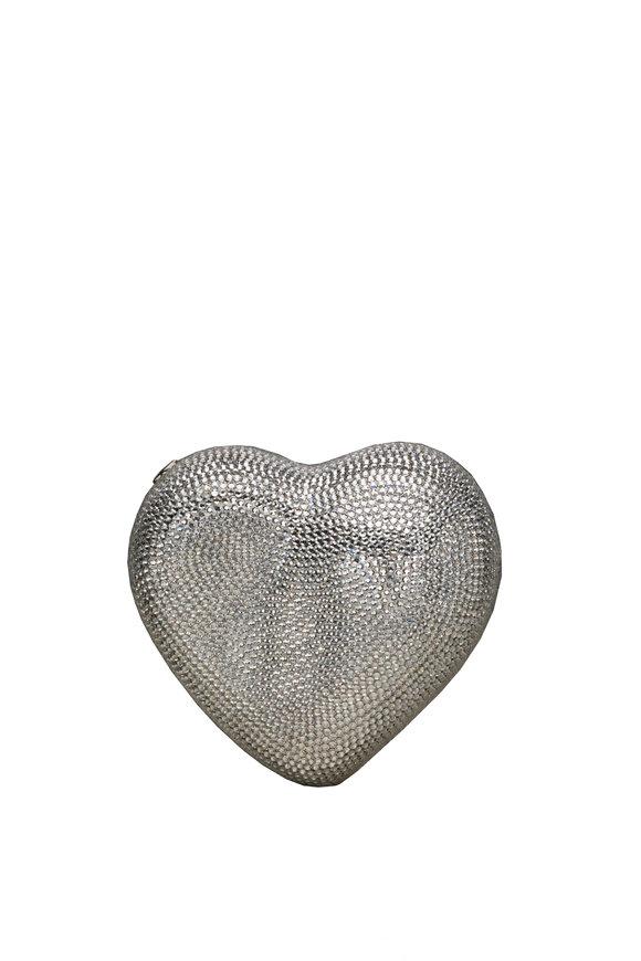 Judith Leiber Silver Crystal Heart Minaudière