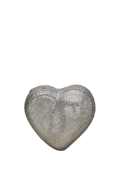 Judith Leiber Couture - Silver Crystal Heart Minaudière
