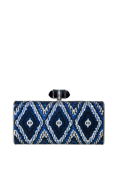 Judith Leiber Couture - Blue & Silver Crystal Ikat Clutch
