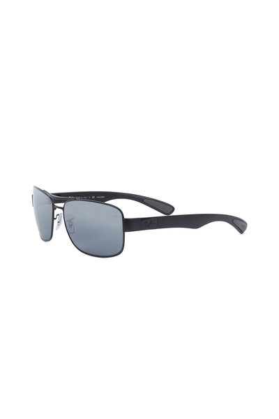 Ray Ban - Rectangular Black Polarized Sunglasses