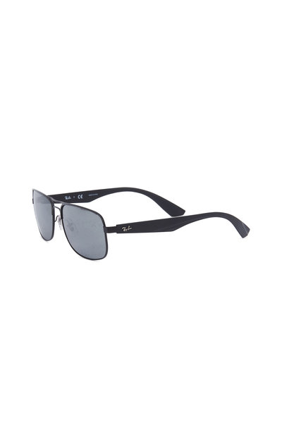 Ray Ban - Rectangular Black Polarized Sunglasses