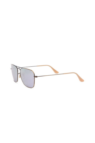 Ray Ban - Caravan Gold Rectangular Sunglasses