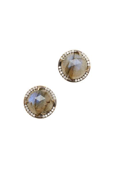 Sylva & Cie - 18K Gold Labradorite & Diamond Studs