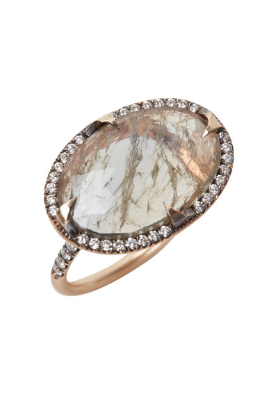 Sylva & Cie - Rose Gold Oval Sapphire Diamond Cocktail Ring