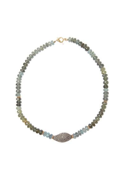 Dana Kellin - Yellow Gold Moss Green Aqua & Diamond Necklace