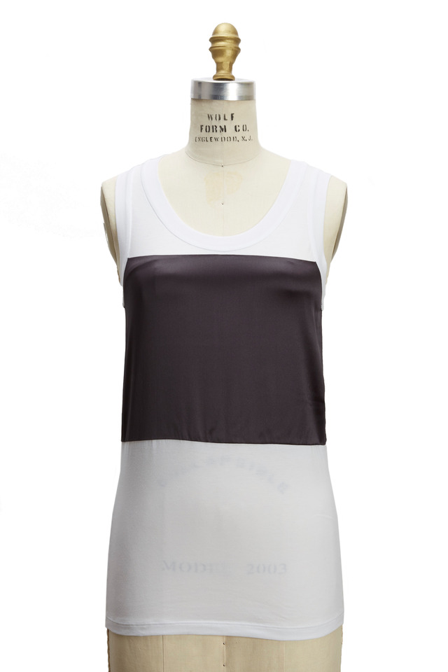White & Volcano Cotton & Satin Tank Top
