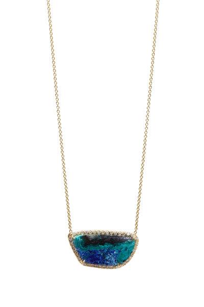 Kimberly McDonald -  Gold Azurite Malachite White Diamond Necklace