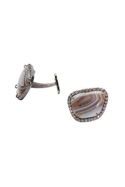 Kimberly McDonald - White Gold Agate & Diamond Cuff Links