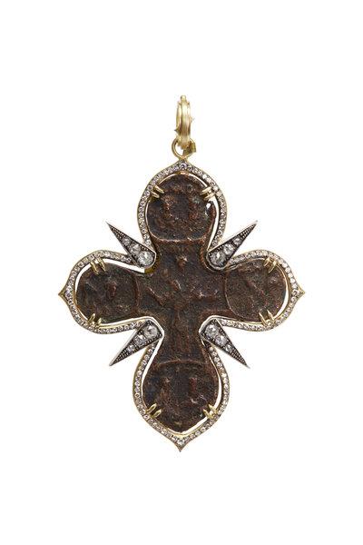 Sylva & Cie - Yellow Gold White Diamond Russian Cross Pendant