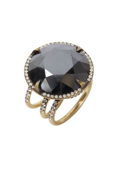 Sylva & Cie - Yellow Gold Hematite Diamond Cocktail Ring