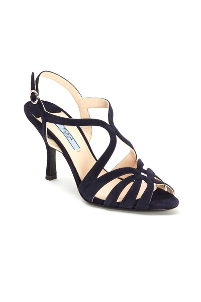 Prada - Navy Blue Suede Strappy Sandals