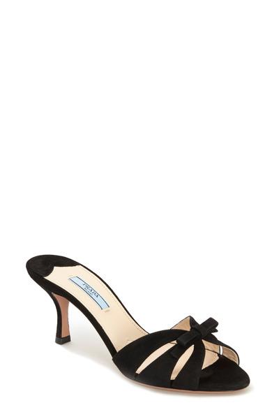 Prada - Black Suede Bow Butterfly Slide Sandal, 65mm