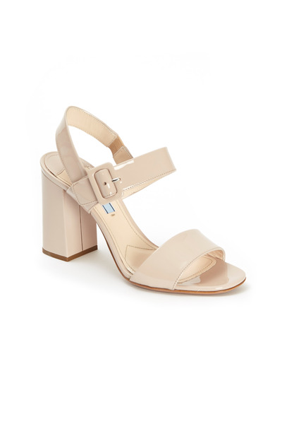 Prada - Nude Patent Leather Two Strap Block Heel Sandals