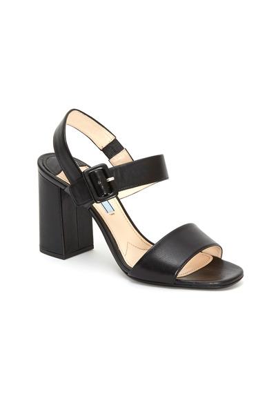 Prada - Black Leather Two Strap Block Heel Sandals