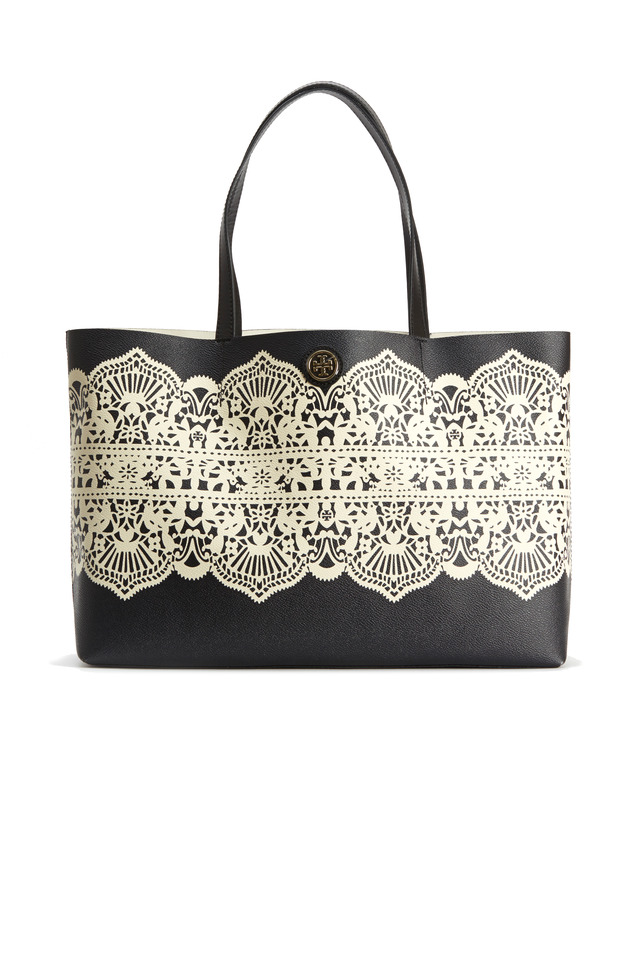 Black Coat Canvas White Lace Print Tote