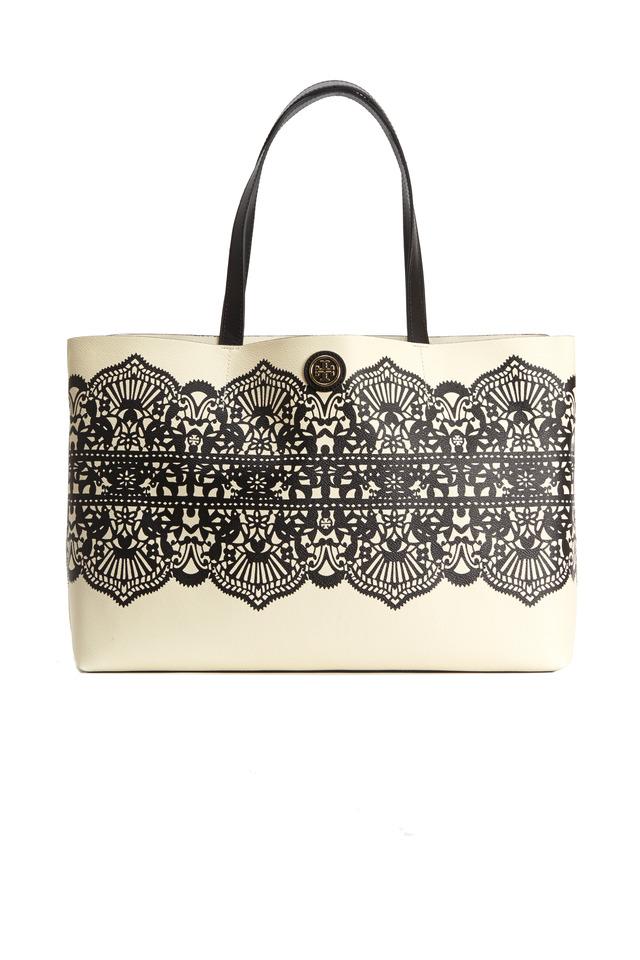 White Coat Canvas Black Lace Print Tote