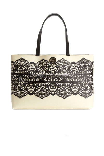 Tory Burch - White Coat Canvas Black Lace Print Tote