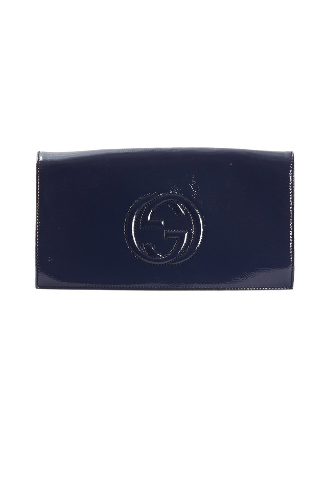 Soho Blue Patent Leather Flap Clutch