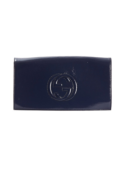 Gucci - Soho Blue Patent Leather Flap Clutch