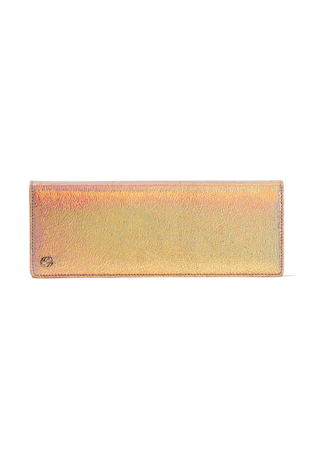 Pink Laser Metallic Flap Evening Clutch