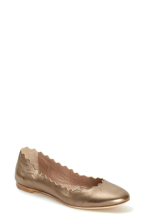 Chloé Lauren Pewter Leather Scallop Ballet Flat