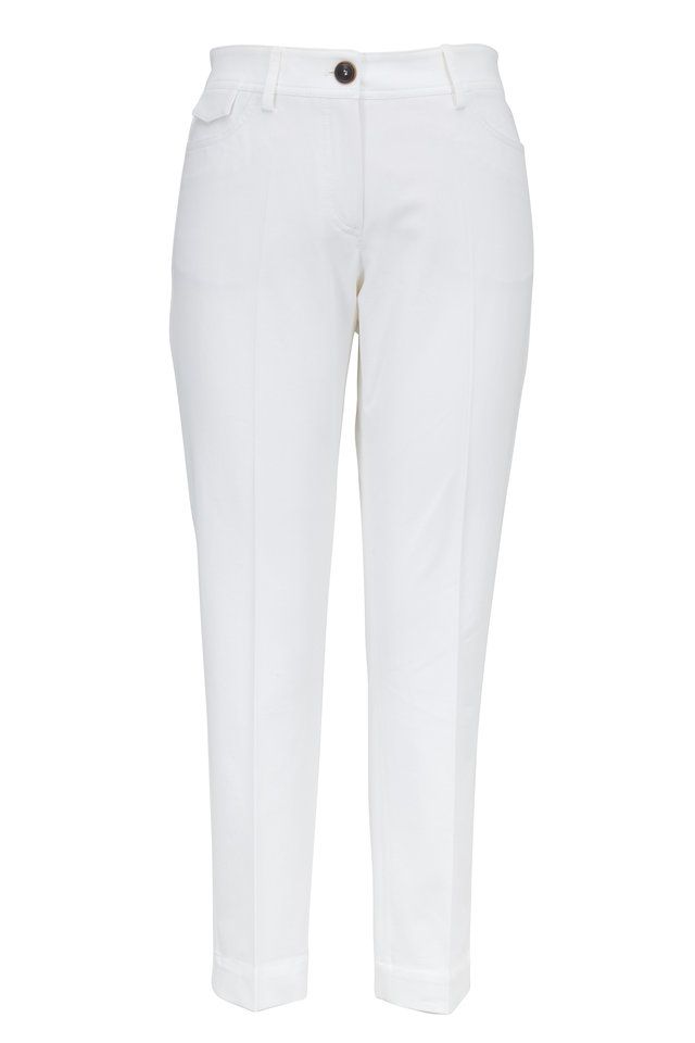 White Stretch Cotton Five Pocket Cropped Pants