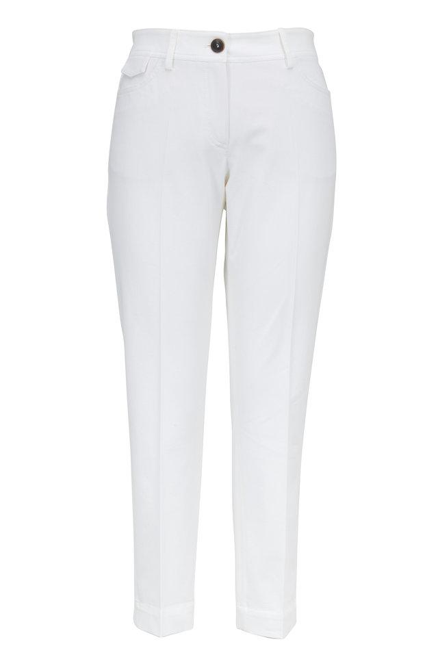 White Stretch Cotton Five Pocket Cropped Pant