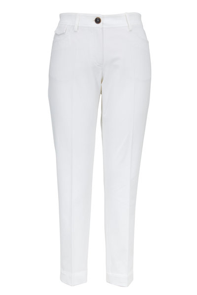 Brunello Cucinelli - White Stretch Cotton Five Pocket Cropped Pant