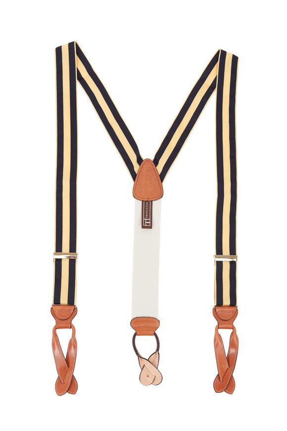 Trafalgar Classic Yellow & Blue Striped Suspenders