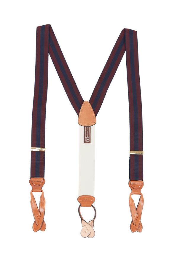 Trafalgar Burgundy & Navy Blue Striped Suspenders
