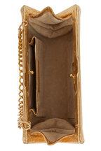 Nancy Gonzalez - Metallic Gold Crocodile Chain Strap Clutch