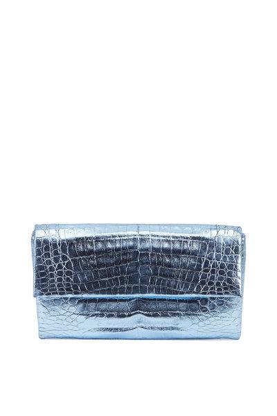 Nancy Gonzalez - Light Blue Metallic Crocodile Envelope Clutch