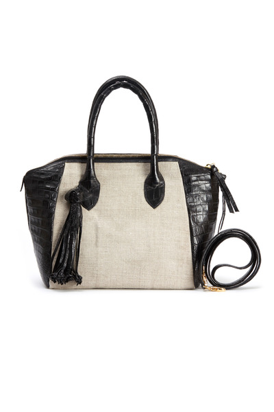 Nancy Gonzalez - Black Crocodile & Linen Satchel