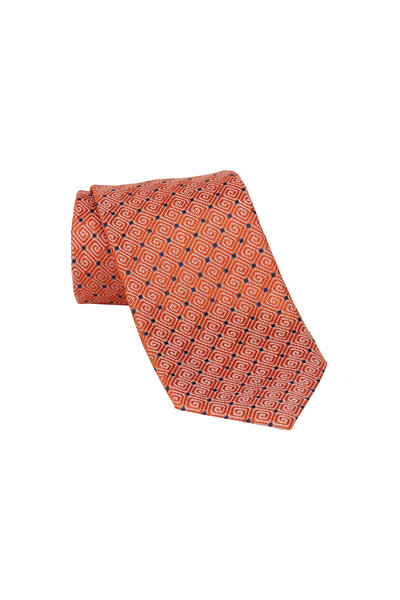 Ermenegildo Zegna - Orange & Black Dot Silk Necktie