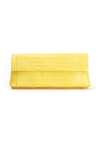 Nancy Gonzalez - Yellow Crocodile Flap Clutch