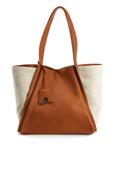 Akris - Alex Tan Leather & Canvas Medium Tote