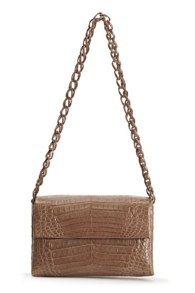 Taupe Matte Crocodile Small Flap Chain Bag
