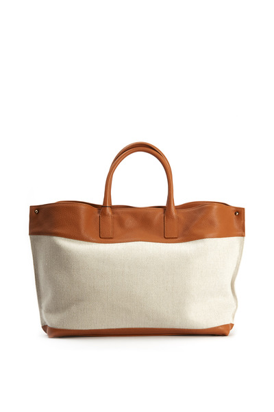 Akris - Ai Stucco Canvas & Tan Leather Handbag