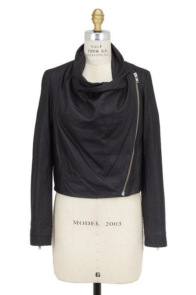 Helmut Lang - Black Leather Draped Front Asymmetric Zip Jacket