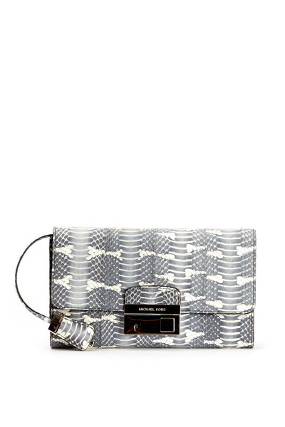 Michael Kors Collection - Gia Gray & Natural Snakeskin Clutch