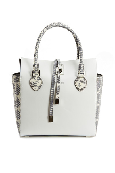 Michael Kors Collection - Miranda White Leather & Snakeskin Large Tote
